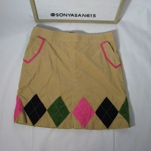 Lilly Pulitzer Corduroy Skirt Tan Argyle Diamond 6
